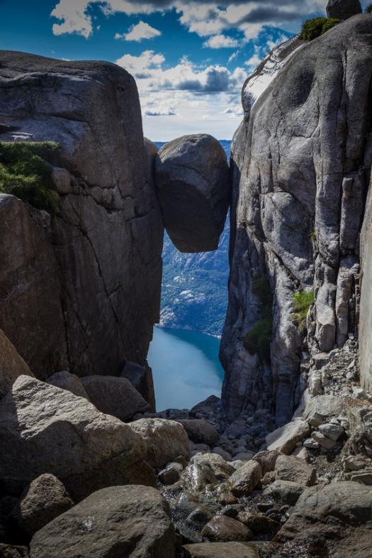 Kjerag Rock (Kjeragbolten) in Lysefjord Cliff,Norway