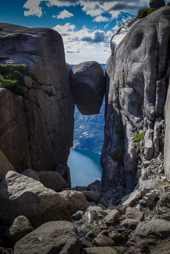 Kjerag Rock (Kjeragbolten) in Lysefjord Cliff,Norway